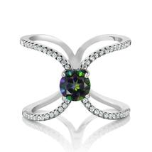 1.58 Ct Round Natural Green Mystic Topaz Ring For Women 925 Sterling Sil... - $76.78
