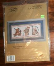 """""""Dad"""" Teddies Something Special 19"""" x 8"""" Cross Stitch Unopened - $8.79"""