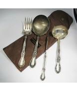 "Estate Vintage Rogers & Bro A1 Silverplate Serving Pieces Set Mono ""N"" C... - $38.61"