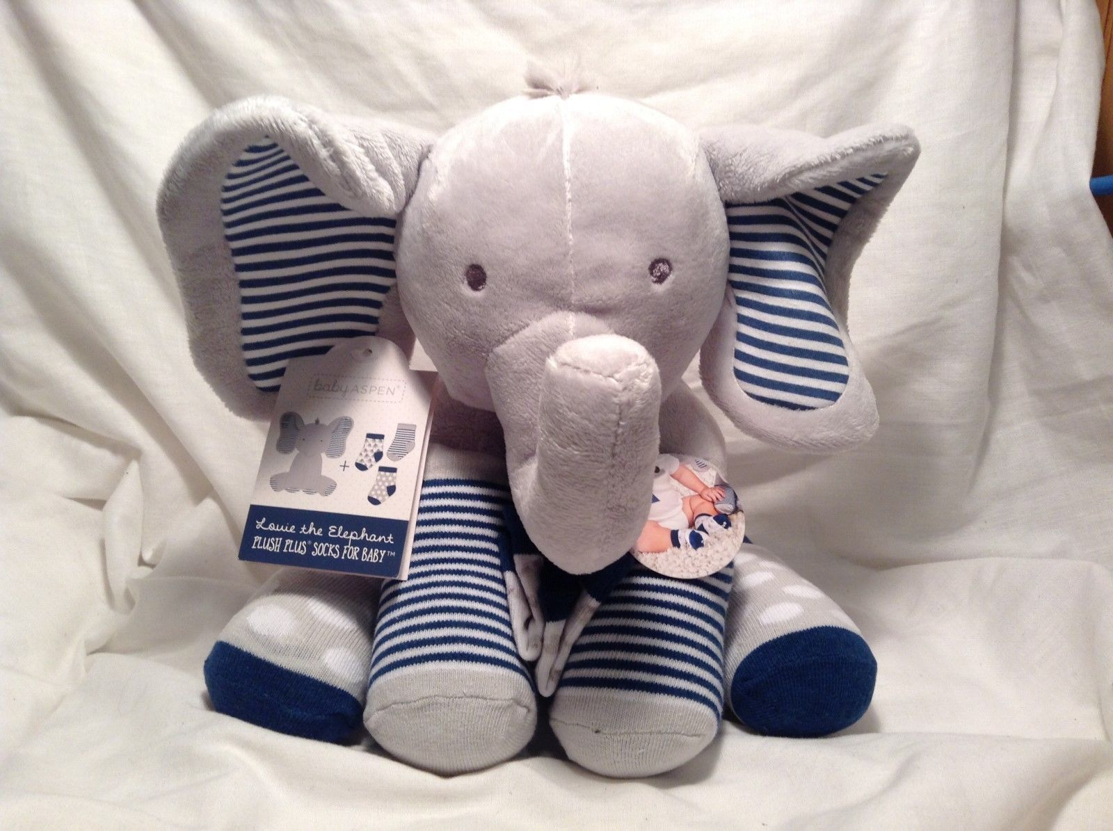 NEW Baby Aspen Louie the Elephant Blue/Grey Plush Toy 0-6M