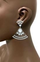 "2.25"" L Antique Silver Tone Dainty Filigree Clip On Earrings, Urban Casu... - $13.68"