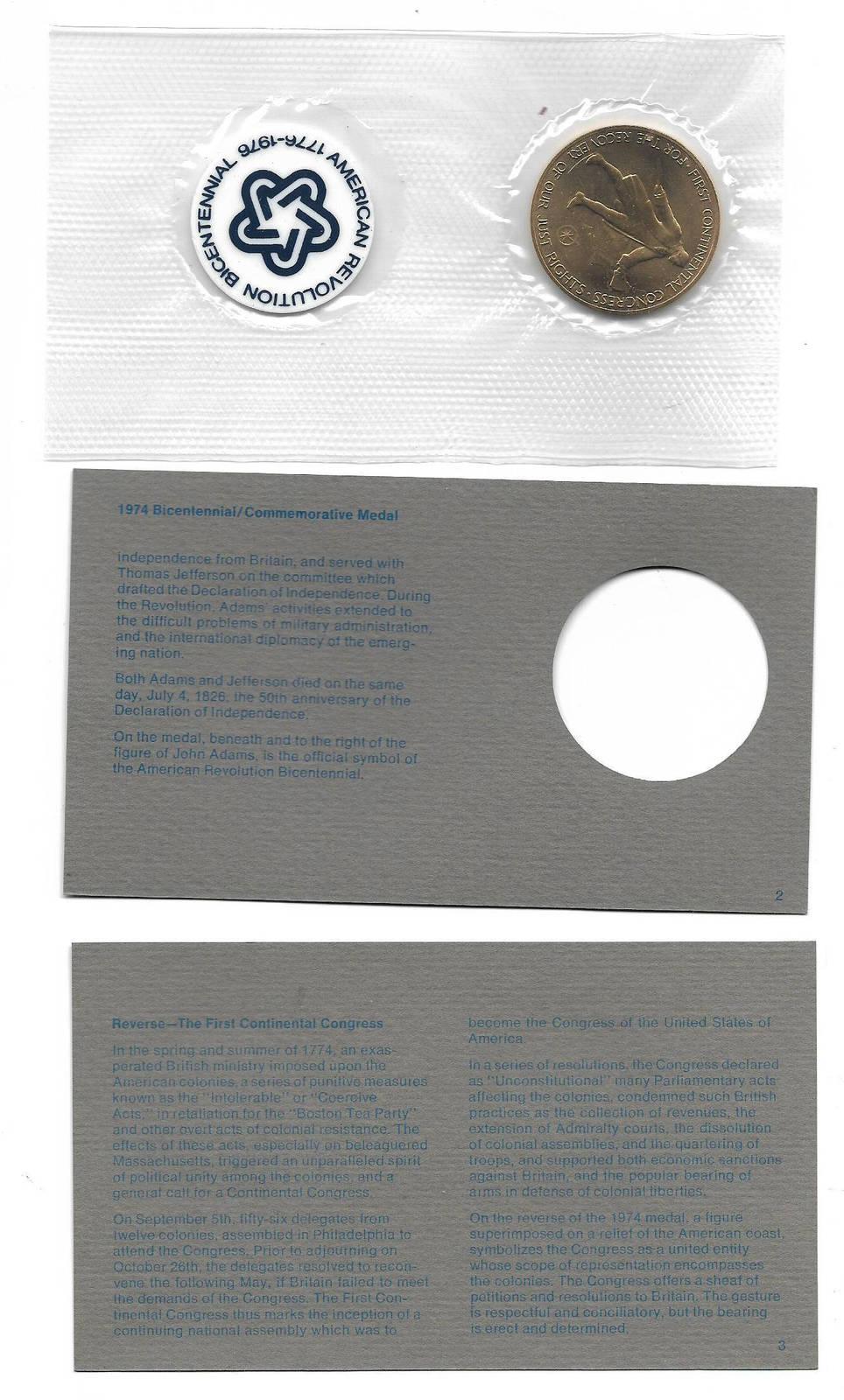 1974 FDC American Revolution Bicentennial Medal-John Adams+ Info cards