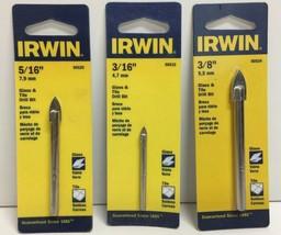 """(New) Irwin 3/8"""", 3/16"""", 5/16"""" Glass & Tile Drill Bit  Set - $18.80"""