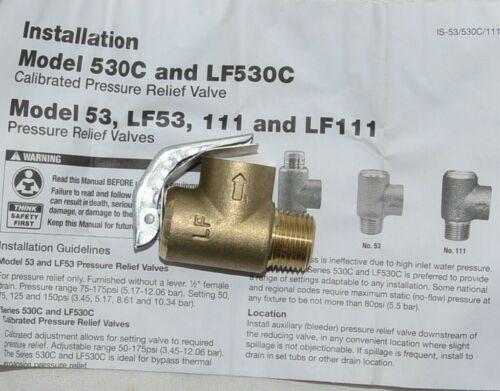 Watts 0121746 LF111L-125 1/2 1/2 Inch Lead Free Pressure Relief Valve