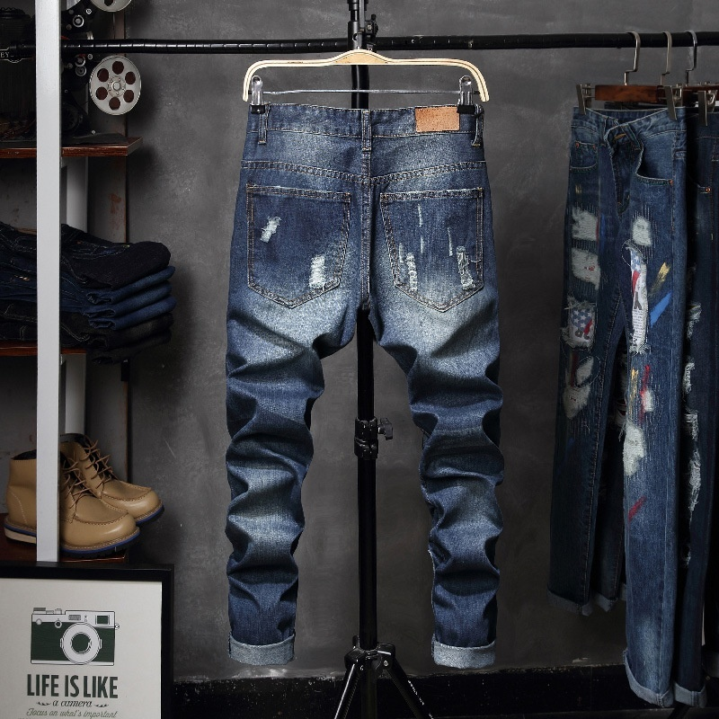 Jamickiki Autumn Winter Men Fashion Printed Casual Jeans