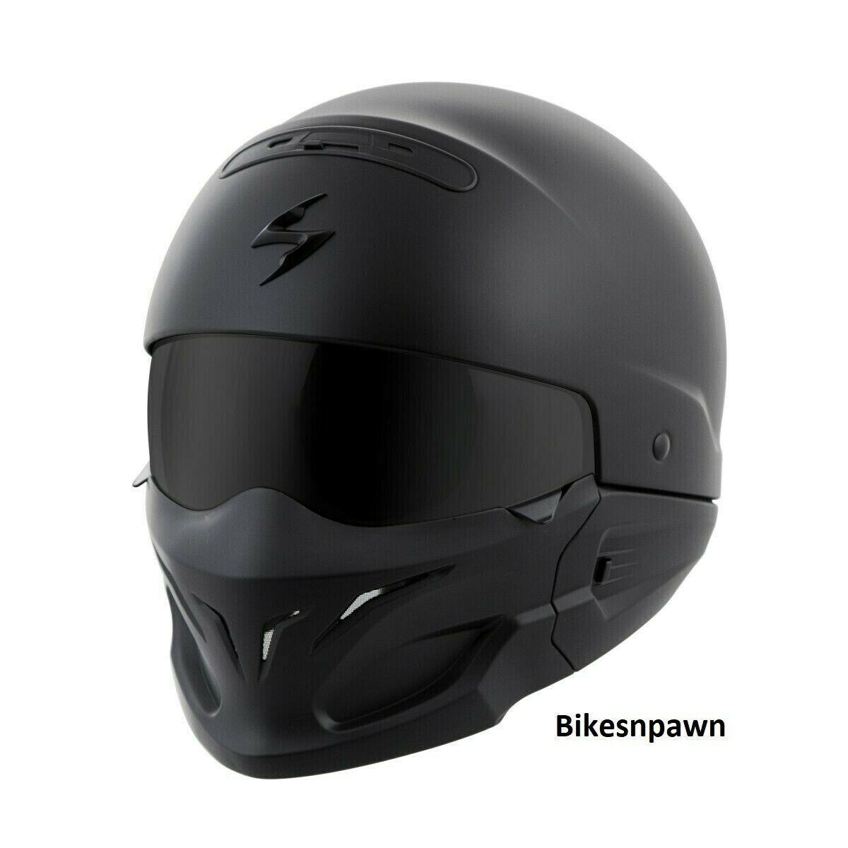 New Size M Scorpion EXO Covert Matt Black 3 in 1 Motorcycle Helmet DOT