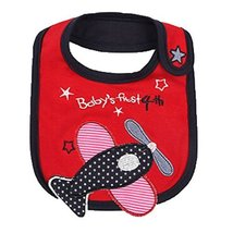 Lovely Plane Red Cool Cotton/PVC Adjustable Waterproof Baby Bib Pocket Bib 612""