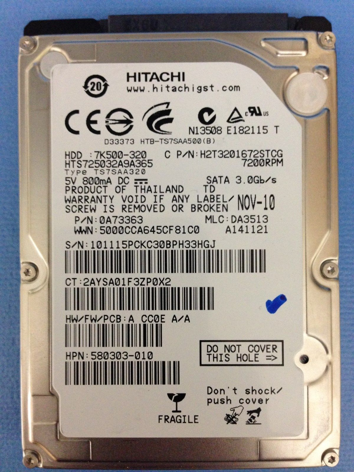 "Primary image for Hitachi 320GB 7200RPM 16MB Cache SATA 3.0 Gb/s 2.5"" Internal Notebook Hard Drive"