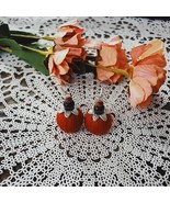 Red handmade dangle earrings, silver plated ear hooks and small balls - $15.95