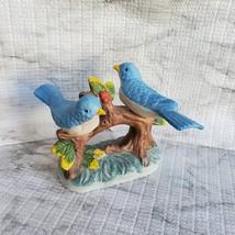 Vintage Bluebird Figurine, Handcrafted in Taiwan, Blue Bird Porcelain Statue