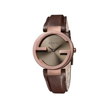Gucci  YA133504 Brown Dial Leather Strap Ladies Watch - $659.99