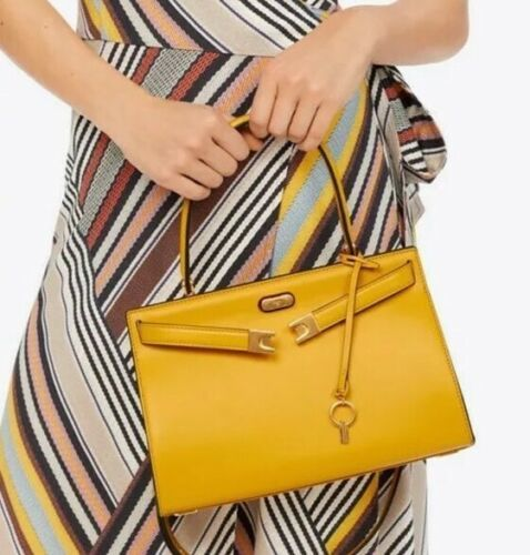 NWT Tory Burch Lee Radziwill Leather Top Handle Small Bag yellow