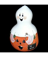 Halloween Ghost and Jack O Lantern Pumpkin Gourd Hand Painted Artist Sig... - $70.21