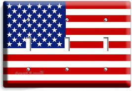 USA AMERICAN FLAG LIGHT SWITCH 3 GANG COVER WALL PLATE US PATRIOT ROOM A... - $17.99