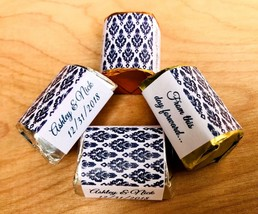 120 NAVY BLUE DAMASK Personalized Candy labels/wrappers/stickers wedding/party - $10.88