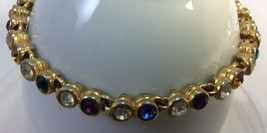 Women Gold Tone Bracelet with Different Colors Stones. Measures 7.5 in L... - $5.98
