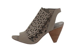 Vince Camuto Nubuck Cut-Out Heeled Sandals Emberla Storm Grey 6.5M NEW A... - $84.13