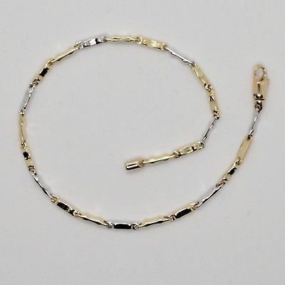 18k WHITE & YELLOW GOLD BRACELET WITH POLISH TUBE LINK 7.87 INCHES MADE IN ITALY