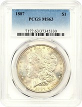 1887 $1 PCGS MS63 - Morgan Silver Dollar - $67.90