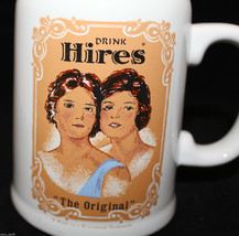 "Drink Hires Root Beer ""The Original"" White Ceramic Stein Soda Mug Cup Girls - $39.18"
