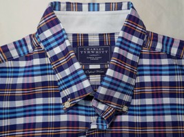 Charles Tyrwhitt Oxford Weave Men Shirt Madras Long Sleeve Button Up Dow... - $27.80