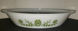 Glassbake milk glass oval divided bowl with handles green flowers - $16.99