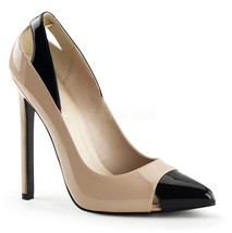 "PLEASER SEXY22/NU-B Sexy Cream & Black Cutout Spectators 5"" Stiletto Heels Pumps - $51.95"