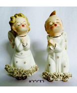 Fine A Quality Japan Christmas Kissing Angels Pair with Spagetti Trim VGC - $46.00