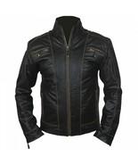 Mens Genuine Leather Distressed Black Leather Motorcycle Cafe Racer Biker Jacket - $99.99
