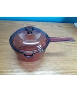 Vision Pyrex Corning Ware 1 Liter Sauce Pan Pour Spout Pot Cranberry w/Lid  - $24.70