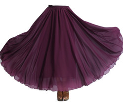 CHIFFON MAXI SKIRT Gray Black Blackberry Maxi Silk Chiffon Skirt Wedding Skirts image 2
