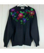 Vintage Marnie West Womens Medium Sweater Black Sequin Beaded Floral Woo... - $49.45