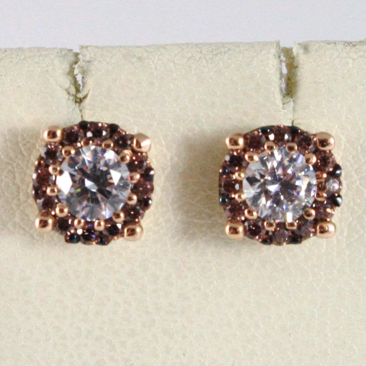 18K ROSE PINK GOLD EARRINGS WITH ZIRCONIA, BROWN AND WHITE, MADE IN ITALY