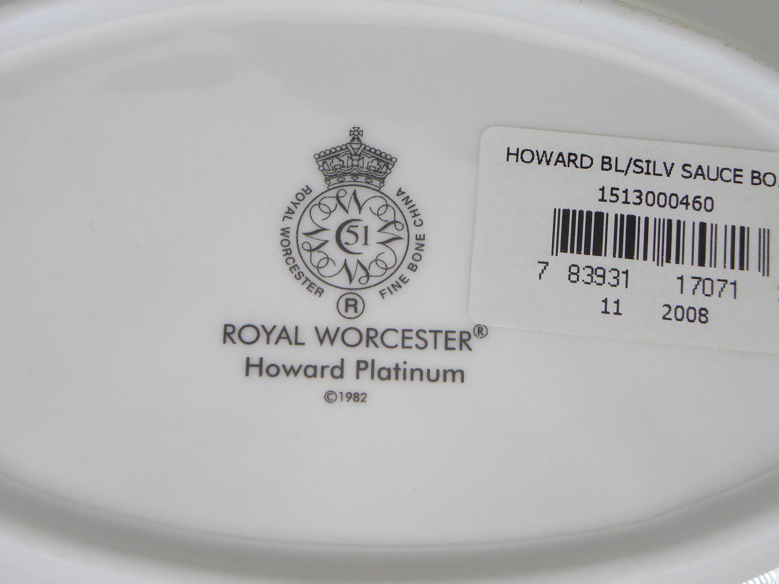 Royal Worcester Howard Platinum Sauce Boat Stand NEVER USED