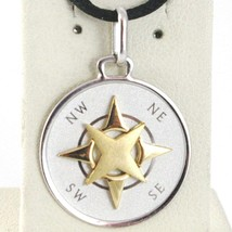 Pendant White Gold Yellow 750 18K, Pink Wind Rose Twenty, Compass, Made In Italy - $241.23