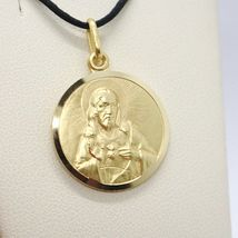 SOLID 18K YELLOW GOLD SACRED HEART OF JESUS 13 MM ROUND MEDAL, MADE IN ITALY image 3