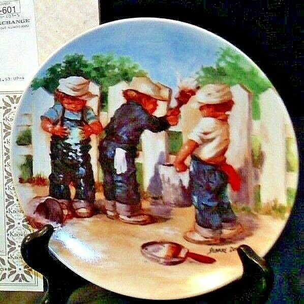 """1984 """"A Coat of Paint"""" by Jeanne Down Plate with Box ( Knowles ) AA20-CP2192 Vin"""