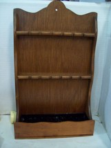 Vintage  Wooden 12 Spoon Holder Wall Rack with Planter Base 101, Z3 - $10.88