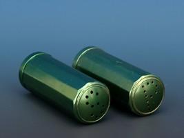 Vintage Novelty Salt & Pepper Shaker Set Machined Aluminum Green Annodized image 2