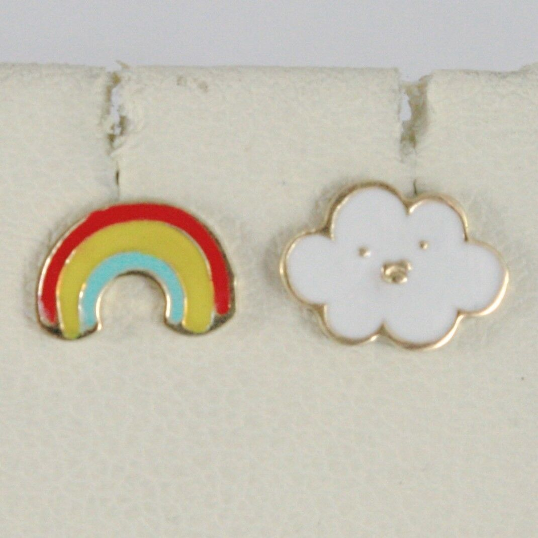 18K YELLOW GOLD KIDS EARRINGS GLAZED FLAT CLOUD AND RAINBOW, MADE IN ITALY