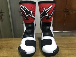 SMX PLUS RED WHITE BLACK  MOTORBIKE MOTORCYCLE LEATHER BOOTS ALL SIZES - $160.00