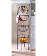 Kitchen Stand 3-Tier Basket Rooster Theme for Produce Storage & More 43.... - $48.95