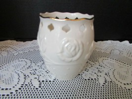 "LENOX CHINA PIERCED BUD VASE ""IVORY ROSE"" 4"" TALL EMBOSSED - $5.89"
