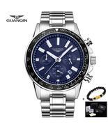 GUANQIN Full Steel Watch Men Luxury Business Stainless Steel Quartz Watc... - $46.47