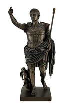 Resin Statues Augustus Of Prima Porta Bronze Finish Augustus Caesar Stat... - $84.69