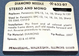 STEREO PHONOGRAPH RECORD PLAYER NEEDLE for Sharp N-13D GS 5560 C512-D 632-D7 image 2