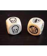 Strange WOOD DICE with SKULLS, SHIELD CREST & CREEPY LITTLE GIRL Weird Die - $7.91