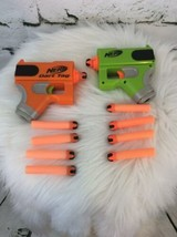 Hasbro Nerf Mini Orange and Green SET of 2 Dart Tag Blaster Pistol W/ 10 Darts - $24.74