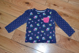 Baby Girls Blue Floral Shirt by Jumping Bean Size 2T RRM304A - $8.69