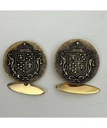 Vintage Royal Crest Shield Medallion Cufflinks Gold Tone Regal - $18.52